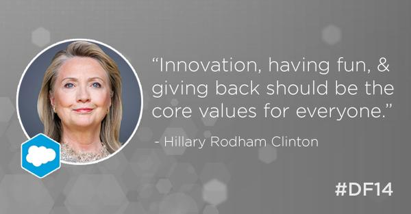 """Innovation, having fun, & giving back."" @HillaryClinton http://t.co/dLDtkimtyr #DF14 http://t.co/caTJdN4eZ5"