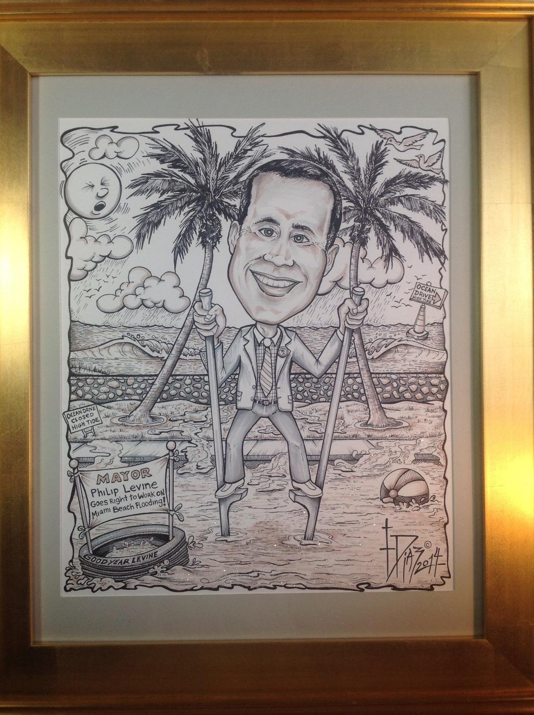 #Cartoon of #MayorLevine fixing the flooding in The City of #MiamiBeach Fl.Thank you#MayorLevine for your hard work! http://t.co/nt4eviQBQp
