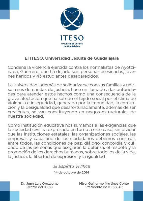 El #ITESO se une a la demanda de justicia por las personas victimadas y los estudiantes desaparecidos en #Ayotzinapa. http://t.co/6TSDK487Wf