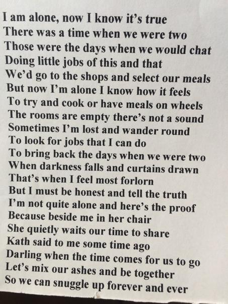 Bob's poem. He never really understood what loneliness meant until Kath, his wife of 65 yrs, died. More @GMB http://t.co/FWxfXLTldu