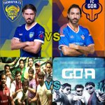 RT @Triplicaneprabu: CHENNAI's 1st battle in ISL begins 2day @ 7.00pm  #ChennaiVsGoa  @dirvenkatprabhu 's 1st movie Vs 3rd movie :)