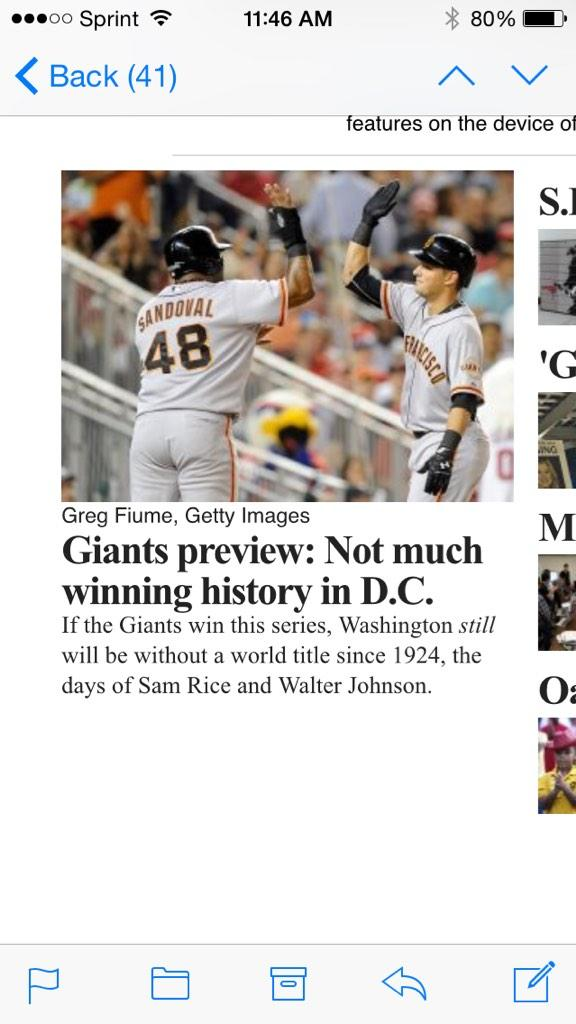 FYI #NATS fans here's the front page of @sfchronicle #SFGiants #MLBPlayoffs @dcsportsbog @Nationals http://t.co/N3gxnTJN3D