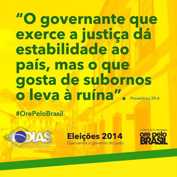 Reta final para as #Eleições2014 - Vamos #orar, #jejuar e #proclamar a #Palavra e #votar consciente. #OrepeloBrasil http://t.co/ZE6eu4bWFp