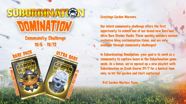 Plants vs. Zombies (@PlantsvsZombies): #PvZGW New week long community event starts Monday #Domination http://t.co/YvChXG99iE