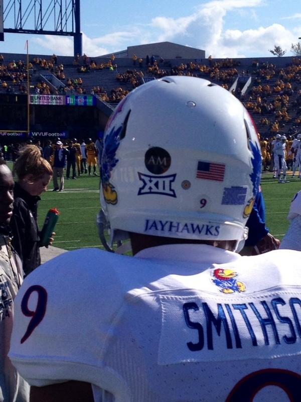 """""""AM"""" patch on KU helmet - Today marks the 1-year anniversary of the passing of former #KUfball signee Andre Maloney http://t.co/wDXUpPaB3p"""