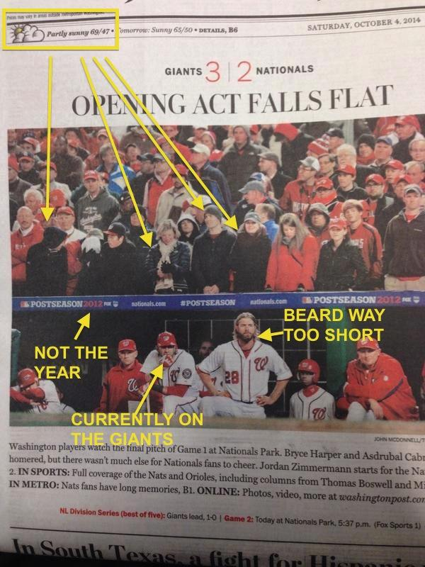 "Priceless! RT""@SBNation: Washington Post used old photo on Nats-Giants cover :( http://t.co/m9LfWc20Ms via @Mcode38 http://t.co/Rb9U1Uee0Q"""