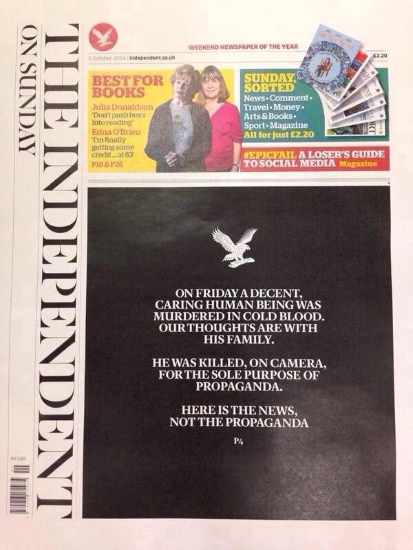 Today's London Independent front page: http://t.co/jcdGzvvynJ