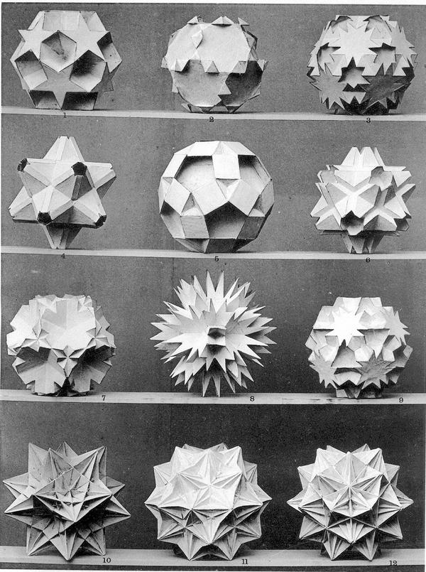 Polyhedra pictures from Max Bruckner's 'Vielecke und Vielflache' (Leipzig, 1900) http://t.co/BLhsfBWb7q http://t.co/B7vlg9bQLs