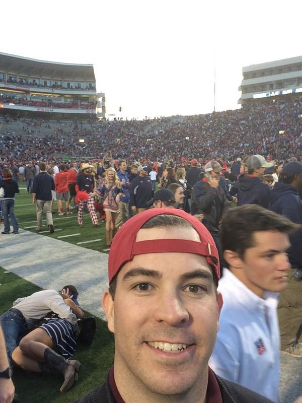 "Tremendous. RT @ChipBrooker: Rebel fans behind me gave a whole new meaning to ""rushing"" the field #HottyToddy http://t.co/T7AVJGpd1i"