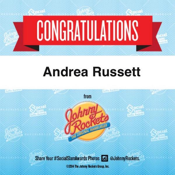 Congrats @AndreaRussett for winning Favorite Female Personality at the #SocialSlamSelfieAwards! #JohnnyRockets http://t.co/N6eX46INU9