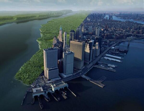 Present day Manhattan versus what it would have looked like 400 years ago http://t.co/tRe6byxwAV