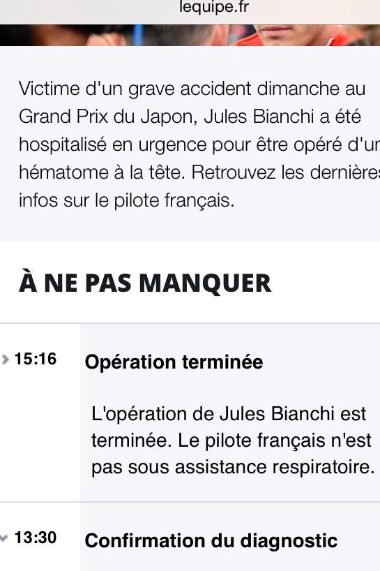 Informa L'Equipe que l'operació a Bianchi ha acabat i no necessita ajuda per respirar. #f1tv3 http://t.co/YGuiWHwuxH