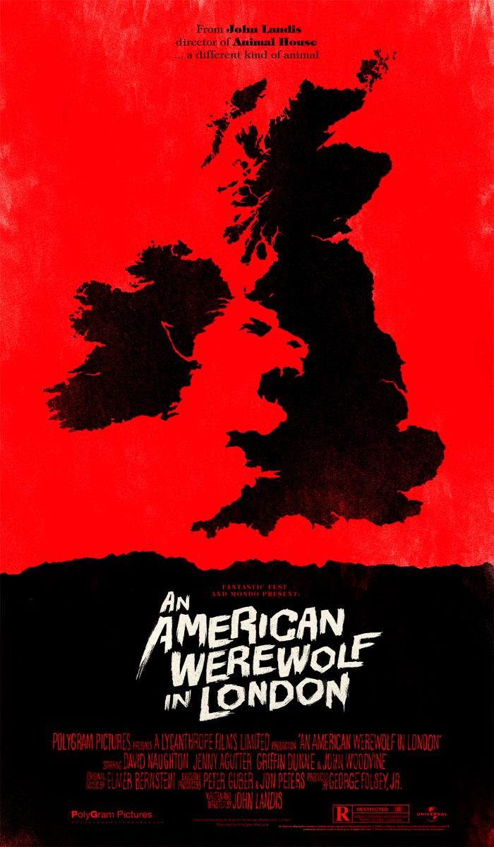 """@Dr_Giallo AN AMERICAN WEREWOLF IN LONDON (1981) by John Landis Mondo #poster by Olly Moss #horror http://t.co/SYDmcPatrY"" @ColinJMcCracken"