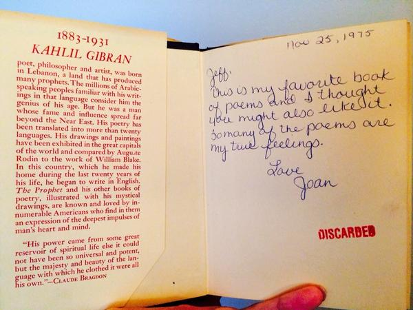 I found this book years ago at a library sale and the inscription and stamp still get me every time. http://t.co/eZ4zuJyW6S