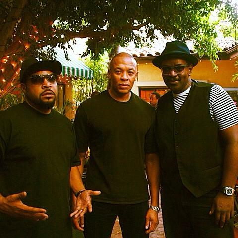 With the homies @icecube & @drdre in LA. Triple OG's on the #StraightOuttaCompton set. http://t.co/I2mlgpbi7t
