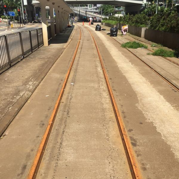 Rust forms on the Hong Kong tram tracks after a week of no use due to #OccupyCentral http://t.co/rGSvrurrcK