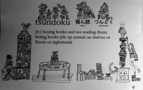"""""""Tsundoku,"""" the Great Japanese Word for the New Books That Pile Up on Our Shelves: http://t.co/WpuPG8TpGs http://t.co/OMhppjhofl"""