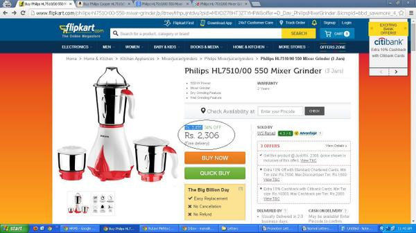 Even after @Flipkart 's #BigBillionDay the other shopping sites are cheaper than them.. Sorry guys #BIGFAIL http://t.co/ZqnfxW3zBG