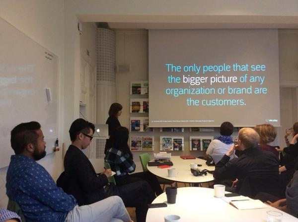 Sitting in on a workshop on service design @byVeryday. Creating value and an outside in approach is key. #SDGC14 http://t.co/IrvA1NUeEw