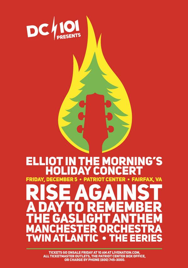 JUST ANNOUNCED!! ELLIOT IN THE MORNING'S HOLIDAY CONCERT feat. @riseagainst, @WhereisADTR, @gaslightanthem & MORE!!! http://t.co/M2zEWJqxIK