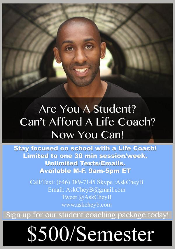 Wait one damn minute. RT @AskCheyB Are you a student & need a life coach? Sign up w/ me for $500/semester http://t.co/MYS4tO8DqJ