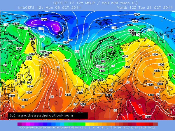 GEFS-P17 brings the snow risk a long way south later this month. -:) #snowgang http://t.co/Pv53AuSmqS http://t.co/HyVj9yaWq7
