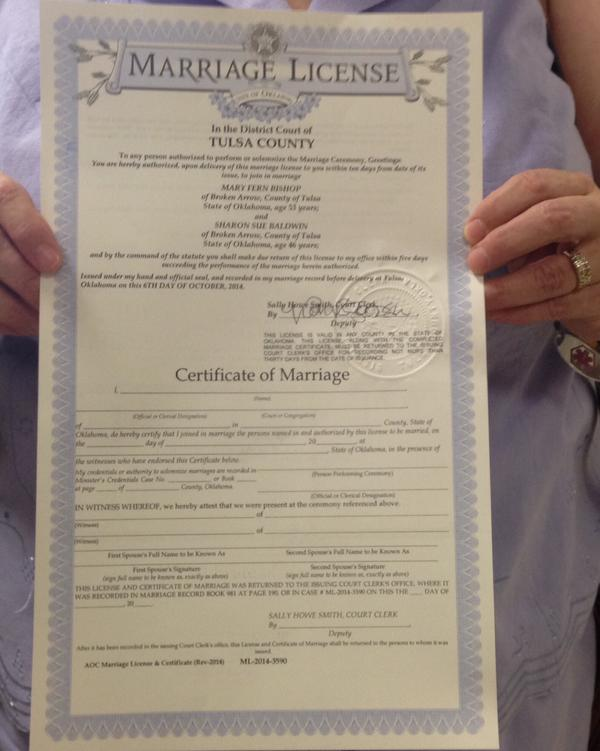 First Filed A Federal Challenge To Oklahoma S Same Marriage Ban Back In 2004 On Monday The Was Among Get License
