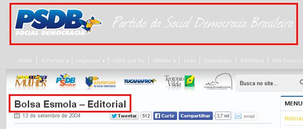 Editorial no site do PSDB chamando o Bolsa Família de bolsa esmola http://t.co/aRUxOJeFJg  http://t.co/rRk60w9Qii http://t.co/C4VjWvtnEJ