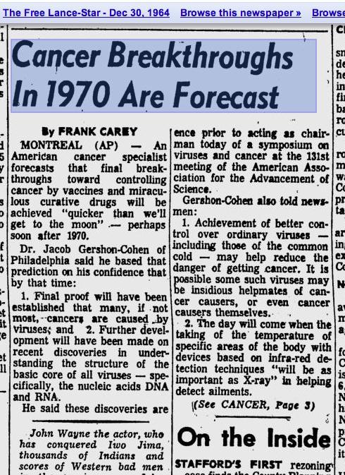 1964 #cancer breakthrough predicted. http://t.co/K93aurgdgP