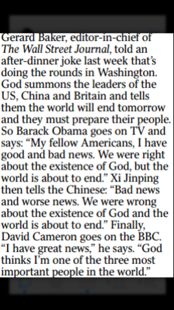 A joke told by editor-in-chief of WSJ @gerardtbaker makes in into today's @thetimes ht @FelicityMorse http://t.co/ZZ7vf2OoqI