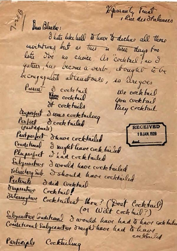 "This made my weekend: a note by F. Scott Fitzgerald in which he conjugates the verb ""to cocktail"" http://t.co/G8Bhy3snrV"