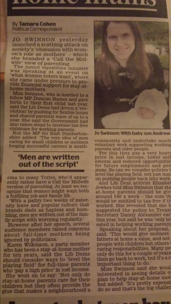 Couldn't make it up: Daily Mail covered my speech re dads being ignored & literally cut my husband out of the picture http://t.co/XkOR0GyXfN