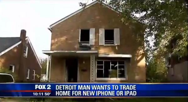 디트로이트의 한 집주인이 자신의 2층집을 아이폰 6나 32GB 아이패드와 교환하겠다고 말해. 처절한 디트로이트 집값하락으로 집값이 겨우 3천불에 불과하다지만 그래도..; http://t.co/l33RtBOMr1 http://t.co/1Xq38mPIDo