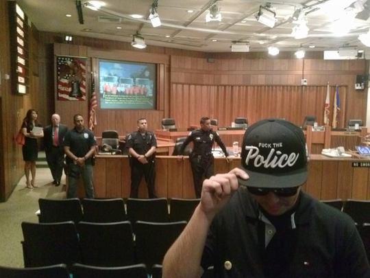 "Santa Ana City Council meeting canceled over ""Fuck the Police"" hat  http://t.co/HV0x6t9C7E http://t.co/wLP62ImYLq via @OCWeekly"