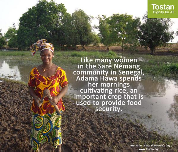 RT @Tostan: Happy Rural Women's Day! Agriculture is the main source of income for #ruralwomen in the communities where we work! http://t.co/lwJpMAKsoB