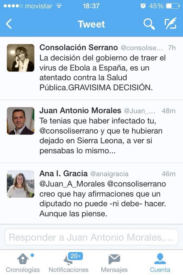 #Ebola| Un diputado del #PP  a una del #PSOE le responde así por cuestionar al Gobierno  http://t.co/iGaWKj7SwV http://t.co/7IjS0iPGb2