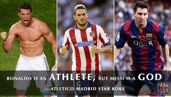 Koke: Cristiano Ronaldo Is An Athlete, But Lionel Messi Is A God. Full  Quotes:   Scoopnest.com