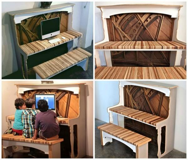 This old piano has been #upcycled into a fantastic unique computer desk!  http:
