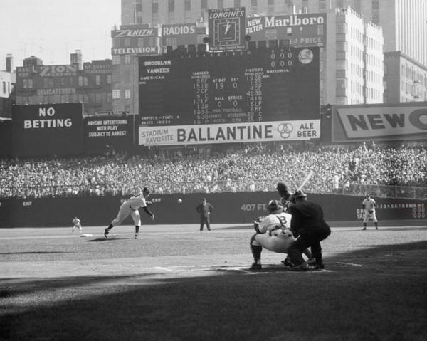 Today in 1956 - Don Larsen pitches the first and only perfect game in World Series history. #Yankees @Yankees http://t.co/ryiOIQBM8K