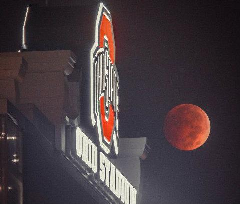 The Lunar eclipse Wednesday morning over Ohio Stadium #bloodmoon - more photos: http://t.co/FcAhC6NbUq http://t.co/55mjHNNfbQ