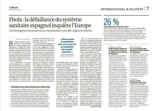 """Le Monde, edición del jueves: """"La incapacidad del sistema sanitario español preocupa a #Europa"""" #ebola http://t.co/FME73F3QmL"""