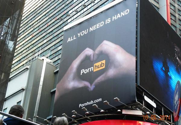 Pornhub erects huge billboard in Times Square after long search for a non-pornographic ad. http://t.co/HHESCH6Tkq http://t.co/GJeNxsjUbW