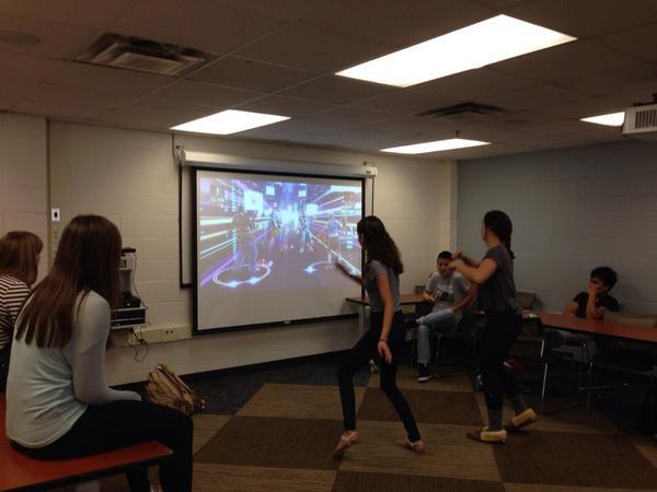 Interactive dance video game. Fun.  #ucLabday @AmericanUC http://t.co/KplonZ8ALF