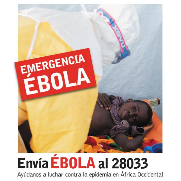Súmate a la lucha contra el Ébola en África Occidental ahora. Envía un SMS con la palabra EBOLA al 28033. #StopEbola http://t.co/KHHC7fTnCH