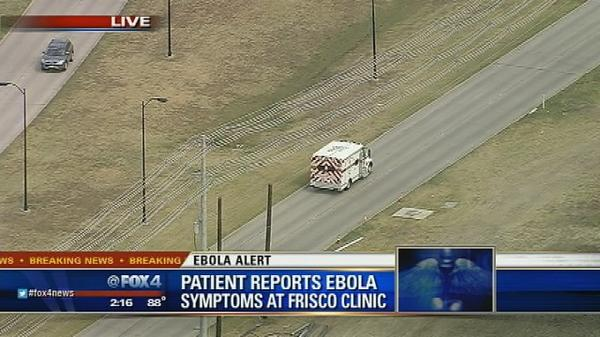 #BREAKING: Patient w/ symptoms of #Ebola being transported from Care Now in Frisco http://t.co/F9SvgJW0Dx http://t.co/w8s45yODO1