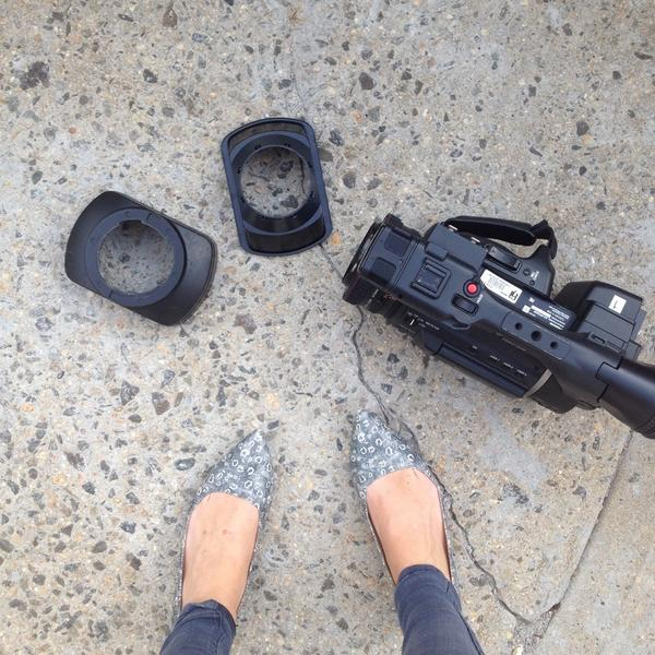 This is what an angry NYPD school safety officer did to our camera. Story tonight at 7 PM. http://t.co/FlAWvKd1TC