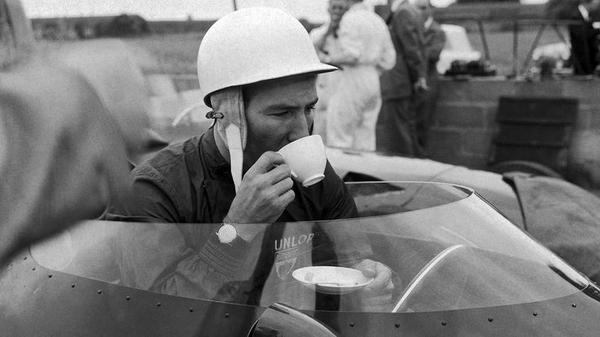 """""""@RetroRacingCo: Sir Stirling Moss has a brew in his Vanwall in 1959.  That is about as English as it can get! http://t.co/mnQss7KbER"""""""