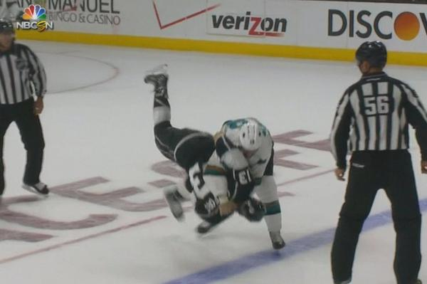 First fight of the #SJSharks season: Mike Brown v. Kyle Clifford http://t.co/rl5xxNHqlh
