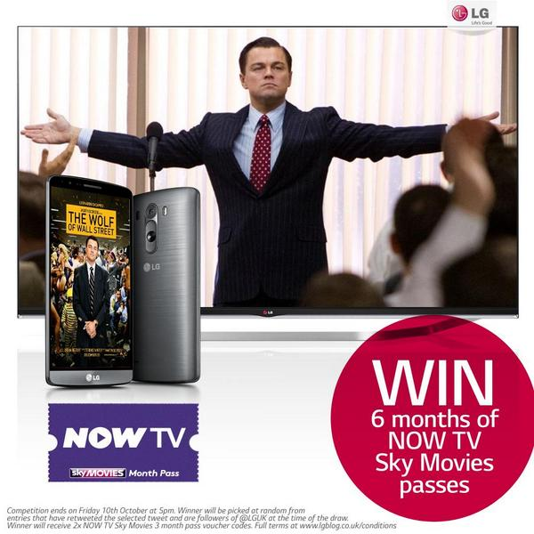 Just RT & Follow @LGUK and you could WIN 6 months of @NOWTV @skymovies passes in our Smart TV movie competition! http://t.co/3j7juJU2gI