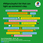 Share your giving act with a photo & caption from #WiproJoyAct lists. Get a chance to be featured on earthain page.